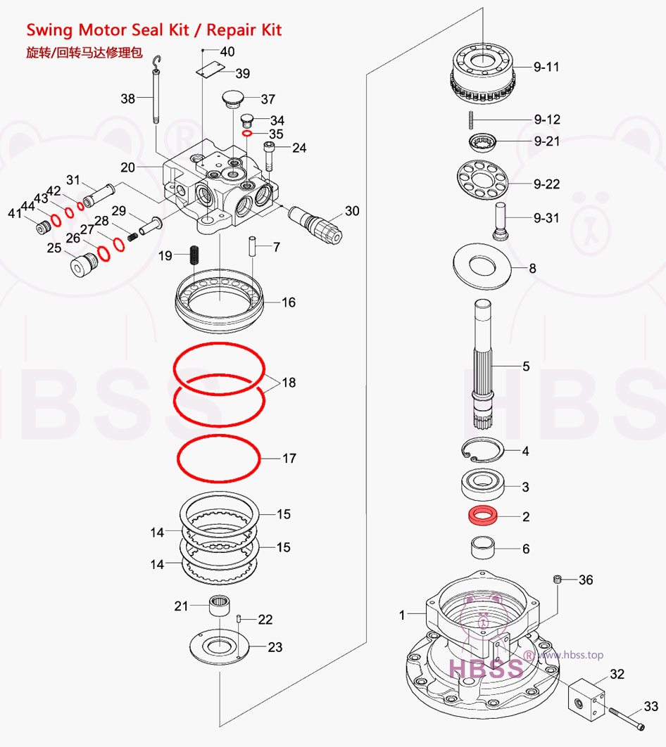PC200-6 Swing Motor Seal Kit 6D95