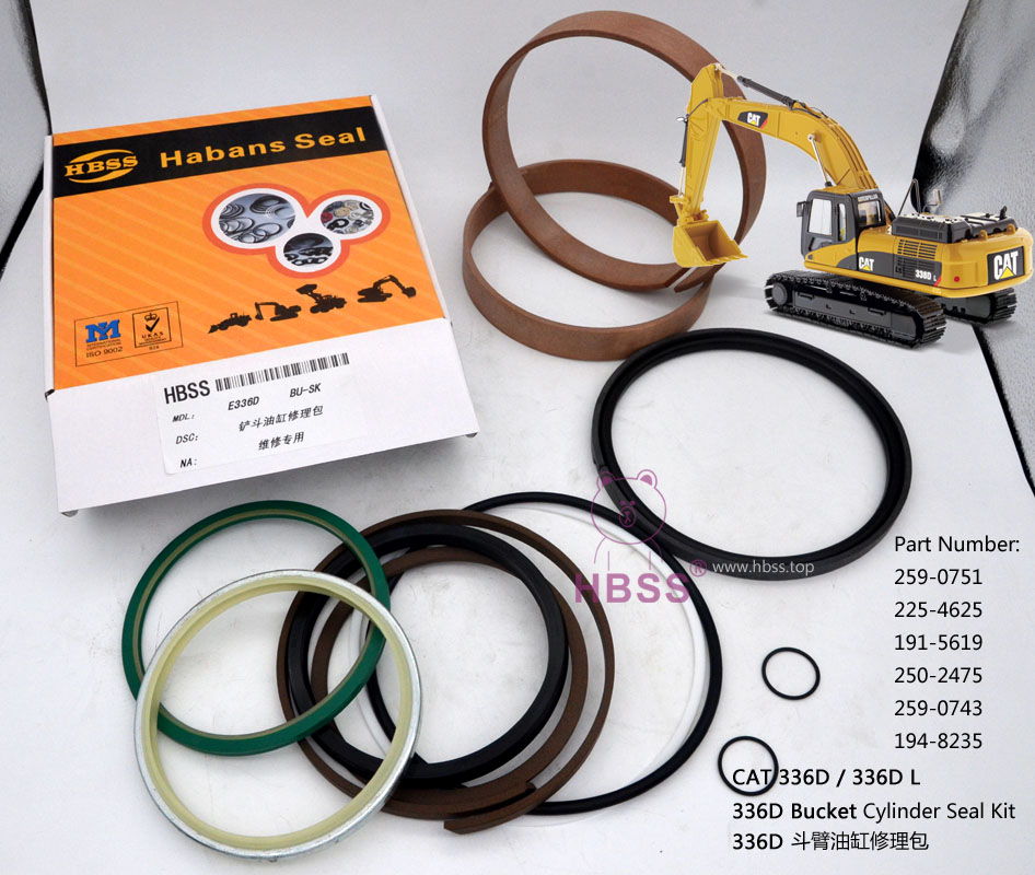 CAT 336D Bucket Cylinder Seal Kit CAT 336D L 259-0751 225-4625 191-5619 250-2475 259-0743 194-8235